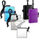 5 Pieces Waterproof ID Card Badge Holder Floating Sports Case Locker Vertical Badge Holders with Hanging Ring and Rope for ID Card Credit Card and Other Small Items Locker Supplies (Various Colors)