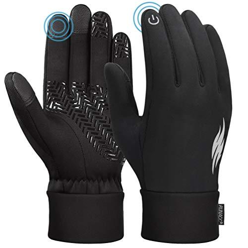 RUNACC Touchscreen Winter Handschuhe Verdickte Winterhandschuhe Laufhandschuhe Outdoor Fahrradhandschuhe Sporthandschuhe Vollfinger Handschuhe für Damen und Herren(Schwarz S)
