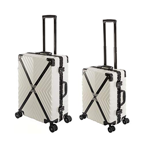 Travelhouse Miami X Cross Koffer Weiß S-55cm & M-65cm Alu Rahmen Reisekoffer Hartschalenkoffer Set