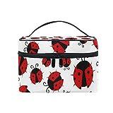 ALARGE Bolsa de maquillaje con diseño de mariquita, bolsa de cosméticos portátil para viajes, bolsa de aseo para mujeres y niñas