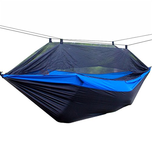 Hamac Confortable For Camping Champ de survie simple ou double Camping hamac avec moustiquaire / moustiquaire hamac arbre sangle et mousqueton facile à assembler Portable Parachute Nylon Hammock Sac à