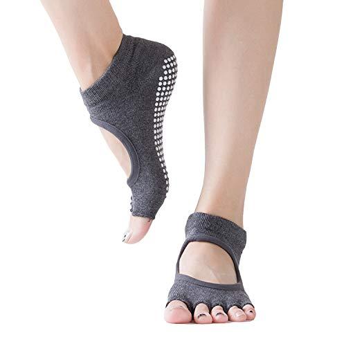 Non Slip Yoga Socks for Women Sticky Grip Sock for Pilates,Pure Barre,Ballet,Trampolines,Bikram,Grip Sox -  Grey -  Medium