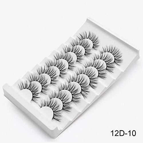 QFWN 5/8 Paires 3D Cils Naturel Long/Gros Faux Cils Main Cils Maquillage Extension de Cils (Color : 12D 10)