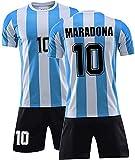 W Weiluogao Maradona Fußballtrikot, Argentinien Fußballuniform für Kinder & Erwachsene, Maradona Trikot 1986, Argentinien Retro Trikot, Mexiko 1986 Weltmeisterschaft, Maradona 10# (Kind-22)