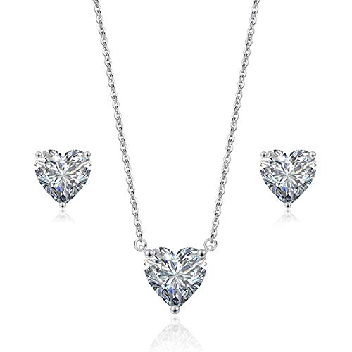 """Beyond Love Heart Pendant Necklace and Earrings Jewelry Set for Women 18K White Gold Plated Bridal Wedding Silver Choker 5A Zirconia Girl Gift Party 18"""""""