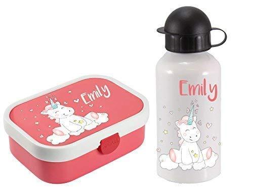 *Mein Zwergenland Brotdose Mepal Campus mit Bento Box und Gabel und Alu-Trinkflasche mit eigenem Namen Einhorn Cutie (Rose)*
