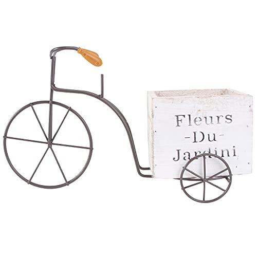 Cabilock Fahrrad-Blumentopf, rustikal, Terrassen-Pflanzgefäß, Blumentöpfe für Pflanzen, Garten, Außen- und Innendekoration (weiß, groß, zufälliger Stil)