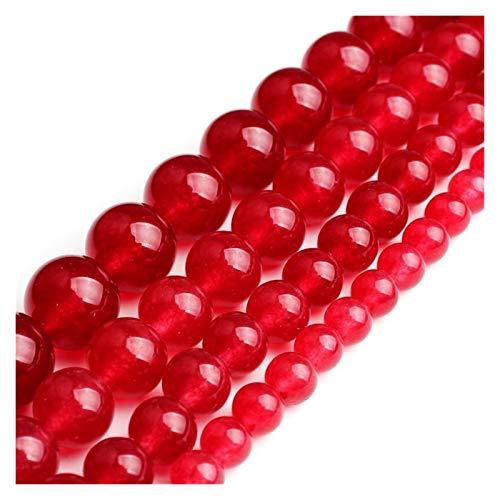 HETHYAN Cuentas sueltas redondas de piedra de calcedonia de color rojo oscuro para hacer joyas de 6, 8, 10, 12 mm, pulsera de bricolaje y collar, joyería de 15 pulgadas (tamaño 12 mm)