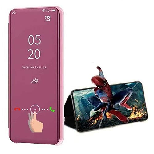 XJZ kompatibel mit Oppo Realme 5/Realme 5S Smart Hülle(2019)+3D Panzerglas/Schutzhülle Premium Mirror Flip ständer Handyhülle Ultra Dünn Hülle Tasche Stoßstange für Oppo Realme 5-Rose Gold