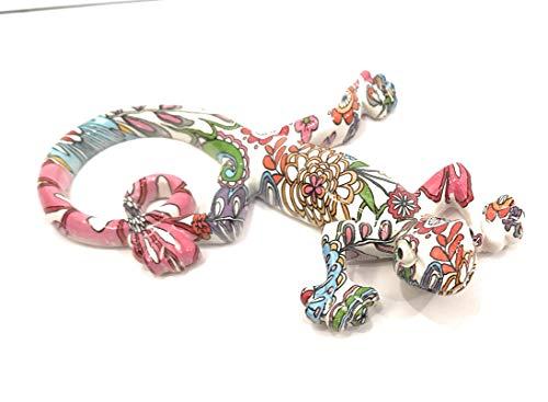Pec as de corazón, decoración de pared salamandra 16 cm, fondo blanco, diseño de flores multicolores en resina