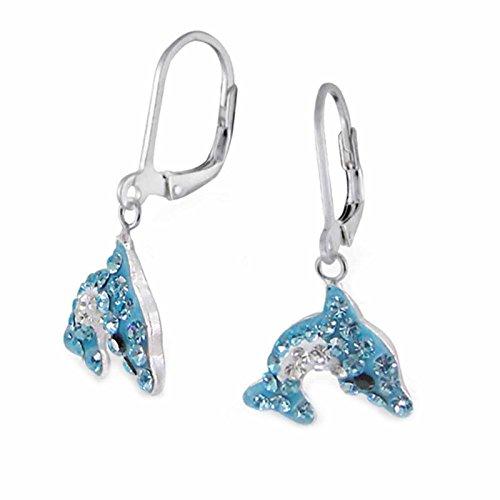 FIVE-D Kinder Ohrringe Kristall Delphin 925 Sterling Silber im Schmucketui (Blau)