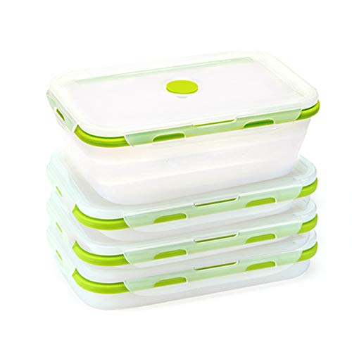 4 Pack Food Storage Container with LidsCollapsible Silicone Food Preserving Storage BoxesBento Lunch Boxes Oven Microwave Freezer and Dishwasher Safe Same Capacity