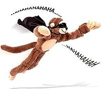 Singe en peluche, avec bras élastiques Longueur d'environ 25 cm. Insérer 2 doigts dans les mains du singe, étirer puis relâcher pour que le singe s'envole. Hurlement strident lorsqu'il vole. Piles incluses, non amovibles. Âge : 5 ans et +. .