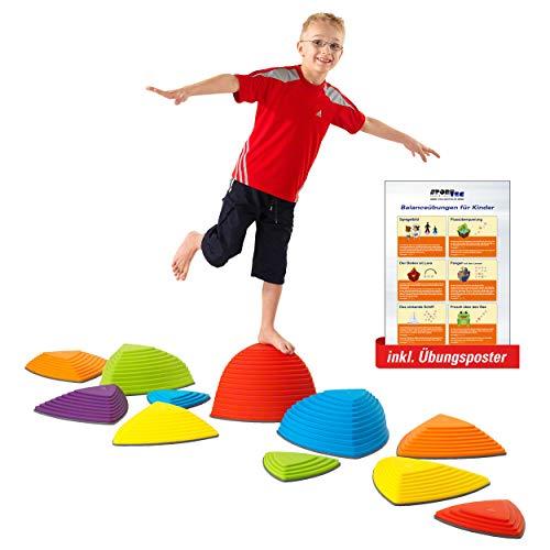 Sport-Tec Hügelkuppen-Set, Balance Spiel, Balancierspiel, Flusssteine, Kinder, Gymnastikblöcke, Kindergarten, 11-tlg.
