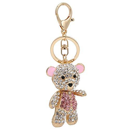 HEEPDD Eleganten rosa Bären geformten Ring, funkelnden Schlüsselbund rostfreie Legierung Kristalle Schlüsselanhänger einzigartige Handtasche Geldbörse Handy Dekoration Zubehör