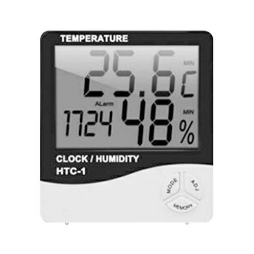 Luccase 35,4 Zoll Digitales LCD Hygrometer mit Einer Rückenlehne Weiß Feuchtigkeitsmesser Raum Innentemperatur Uhr Digital LCD Thermometer
