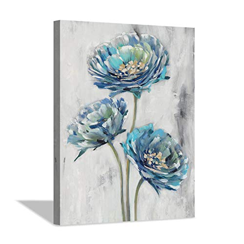 """Abstract Floral Canvas Wall Art: Blossom Blue Lotus Flower Artwork Painting Print for Bathroom (12"""" x 16"""" x 1 Panel)"""