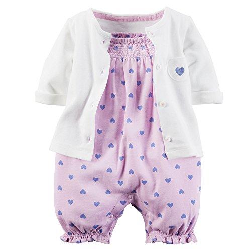 Carter's Baby Girls' 2 Piece Romper Set 126g112, Lilac Heart, 12 Months