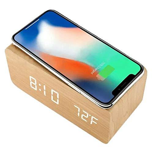 Lpinvin Sveglia Termometro Disegno Semplice di Caricabatterie Senza Fili in Legno di Allarme LED Digital Legno Comodino Orologio (Colore : Beige, Size : One Size)