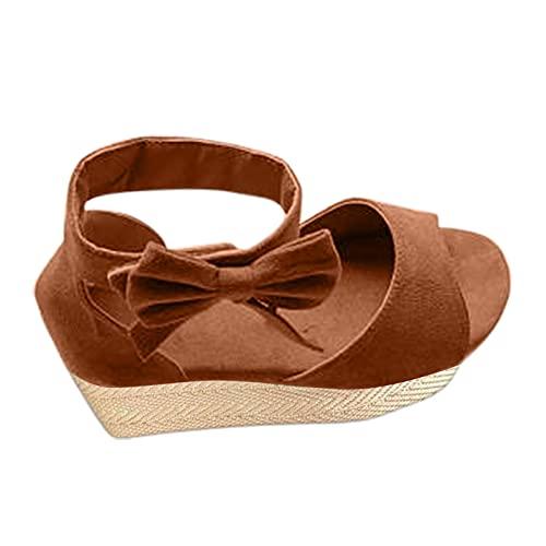 Damsandaler Bowknot romersk sandal kilsandaler platåsandaler platåskor Wedge plattform Peep Toe Espadrilles sommar sandaler fritidsskor, - 1 brun brun - 40 EU