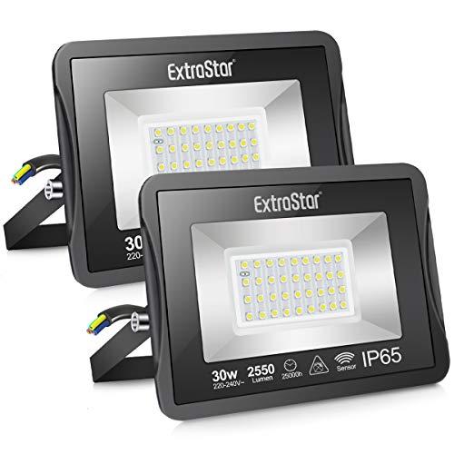 Extrastar Focos LED exterior con sensor de movimiento,30W Patio[Clase de eficiencia energética A+]2 paquetes (6500K,30W)