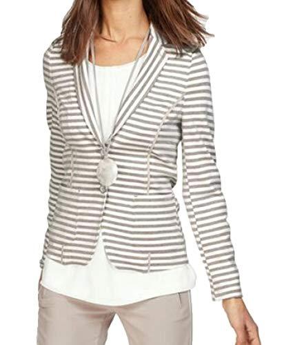 bianca. Jacke glitzernder Damen Streifen-Blazer mit Zwei-Knopf-Verschluss Jersey-Blazer Jäckchen Weiß/Grau, Größe:46