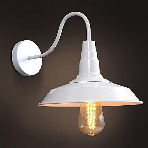 lampada a parete vintage SISVIV Lampada da Parete Vintage Industriale Bianca Applique Interno Lampada da Muro Retro in Metallo per Cucina Bar Ristorante Salotto Caffè Loft E27