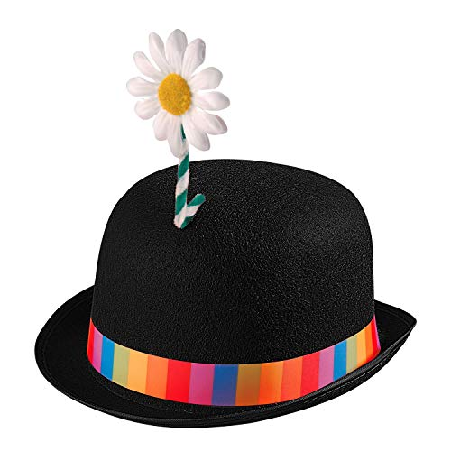 WIDMANN 25101 - Sombrero de Payaso para Adultos, Multicolor, con Flor, meln de Fieltro, Sombrero, Sombrero, Disfraz, Carnaval, Fiesta temtica