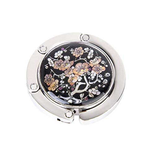 Faltbarer Handtaschenhaken, rund, für Tisch und Schreibtisch, mit magnetischem Design, Pflaumenblütenmuster, 1 Stück