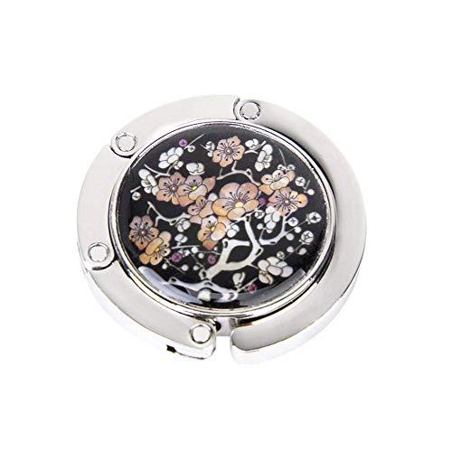 XIAOQI Gancho redondo plegable para bolso de mano, soporte para mesa y escritorio, con diseño magnético, diseño de flor de ciruelo, 1 unidad
