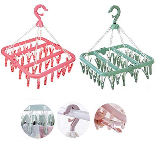 Biluer Socken Kleiderbügel, 2PCS Sockentrockner Wäscheständer Clips Trocknen Rack Kunststoff Mini Wäschespinne für Socken Unterwäsche Babykleidung Handschuhe Pink Grün (32 Wäscheklammern)
