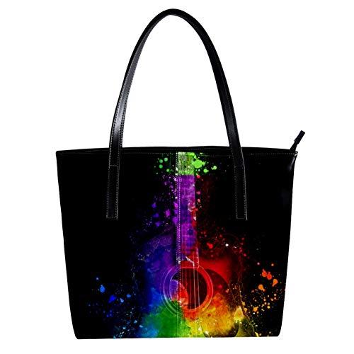 LORVIES Akustische Aquarell-Gitarre, Umhängetasche, PU Leder und Handtasche für Damen