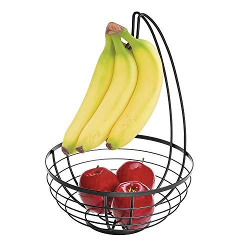 iDesign Austin Cestino portafrutta con portabanane, Porta Frutta da Tavolo Tondo in Metallo, Nero Opaco, 27,4 cm x 20,1 cm