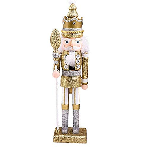 Nussknacker Holzfigur Soldat, 42 cm Nußknacker Wood Dekorativ, Traditionell Puppe Figur Klassisch Aus Holz Zum Weihnachten, Nutcracker Christmas Decoration,Gold