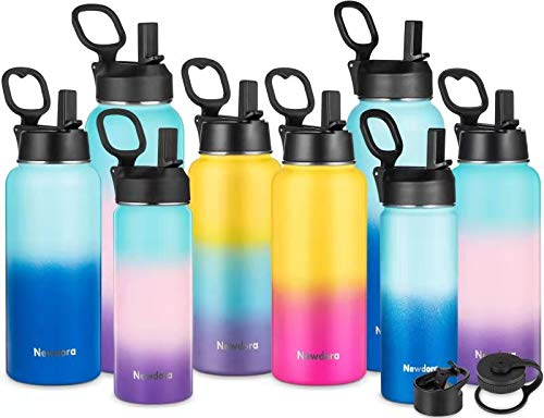 Newdora Stainless Steel Water Bottle Double Wall Vacuum Insulated Water Flask Leak-Proof & BPA-free Drinking Bottle with 3 Lids,Keep Liquids Hot or Cold,18OZ for Tea Coffee Juice,Sport Camping Gym