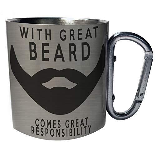Mit großem Bart kommt eine große Verantwortung Edelstahl Karabiner Reisebecher 11oz Becher Tasse b66c