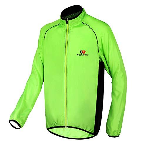 Winddichte Fahrradjacke, Ultraleichte Wasserdichte Laufjacke Herren Damen, Reflektierende Radjacke Windstopper Softshell Jacke mit Elastischem Saum Reißverschlusstasche zum Radfahren, Laufen, Wandern
