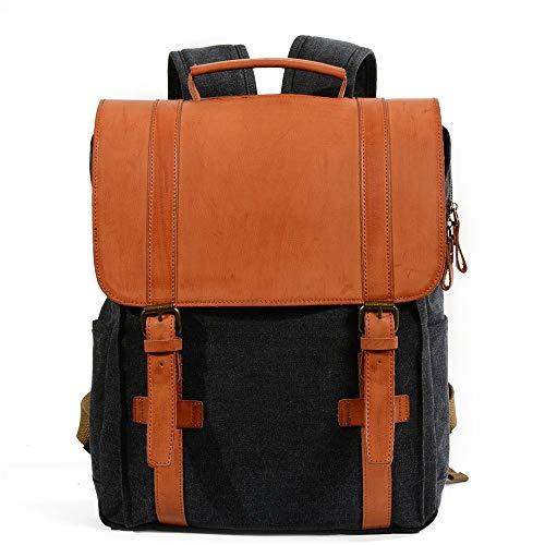 QinWenYan Mens Backpack Unisex Canvas Backpack Hiking Travel school Rucksack Casual Daypacks Backpack Laptop College Bag Water Resistant Bag For Work Travel for Work, School, Travel
