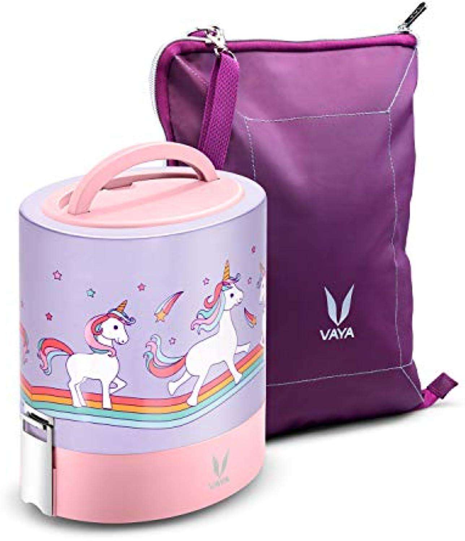 Vaya Tyffyn 1000 Lunchbox mit Beutelmatte, Edelstahl 3 Behlter, 100% BPA-frei, umweltfreundlich, für Erwachsene und Kinder