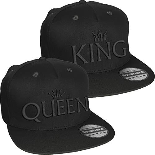 Nashville print factory Snapback Ton-in-Ton Bestickt mit Motiv Krone/King & Queen in schwarzer Schrift Stickerei Partner-Cap für Sie & Ihn (King & Queen)