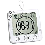Waterproof Bathroom Clock and Timer for Shower, Digital Water Resistant Shower Alarm Clocks with Suction Cup, Water Proof Bathroom Hanging Wall Clock Humidity Temperature Meter, Touch Screen (White)