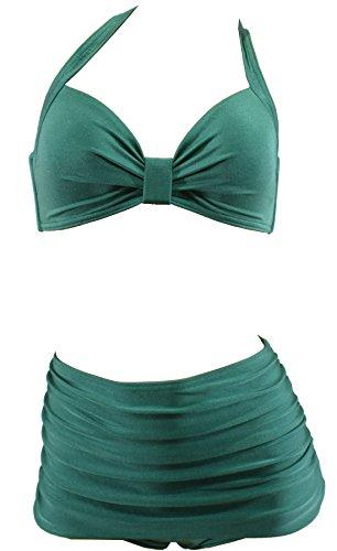 Aloha-Beachwear Damen Vintage Bikini Set high Waist Panty Retro 50s 40s Uni, A10800 einfarbig rot grün blau (L / 40 / UK 14, Schimmer Grün)