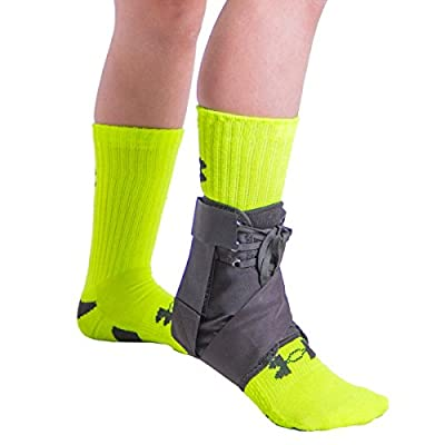 BraceAbility Lace Up Kids Ankle Brace - Pediatric Figure 8 Sprained Foot Support Wrap for Active Youth, Children in Sports, Basketball Protection, Gymnastics, Soccer, and Volleyball (One Size)