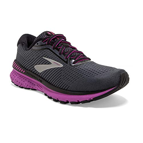 Brooks Womens Adrenaline GTS 20 Running Shoe - Ebony/Black/Hollyhock - B - 7.0