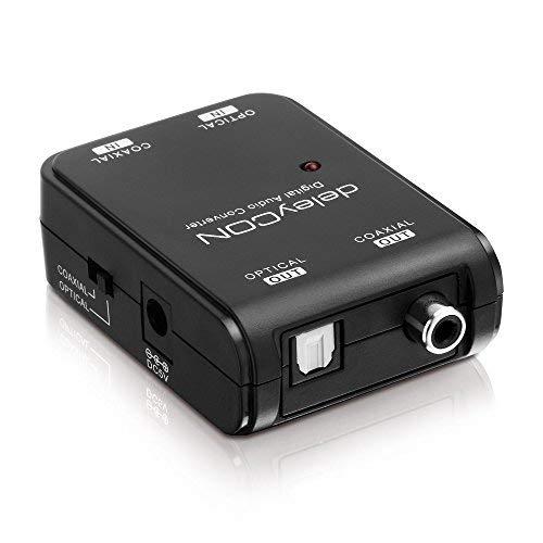 deleyCON Digital Toslink zu Digital Coax Audio Konverter Bidirektional in Beide Richtungen Konverter Splitter Wandler Toslink zu Digitalem Koaxial