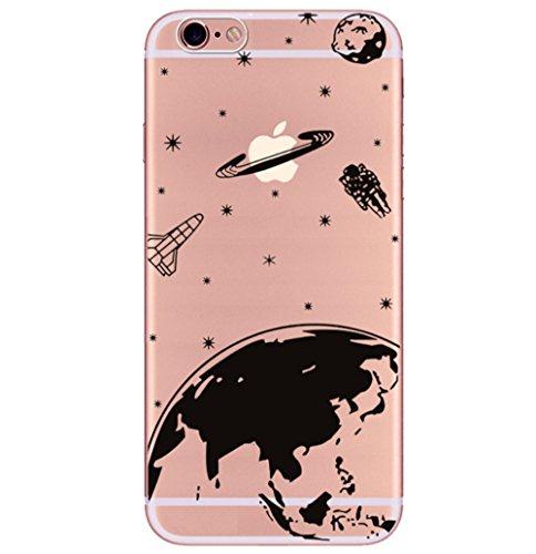 Freessom Coque IPhone 6/6s Silicone Transparente avec Motif Univers Espace Noir Dessin Planetes Souple Soft Originale Antichoc Ultra Mince Fine Leger TPU Protecteur Case Housse Etui