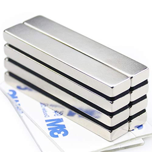Powerful Neodymium Bar Magnets, Rare-Earth Metal Neodymium Magnet, N45, Incredibly Strong 33 LB Strength - 60 x 10 x 5 mm, Pack of 8