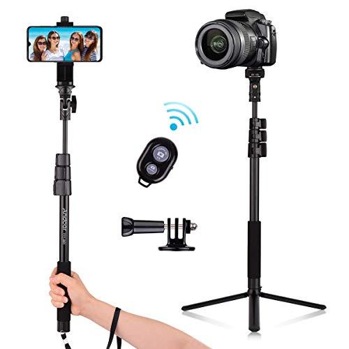 Andoer 54 Zoll Bluetooth Selfie Stick Stativ, Aluminiumlegierung Handy Stativ Tragbar Kamera Stativ Reisestativ, Smartphone Gimbal Stabilisator für iPhone Samsung Huawei Xiaomi mit Telefonhalter