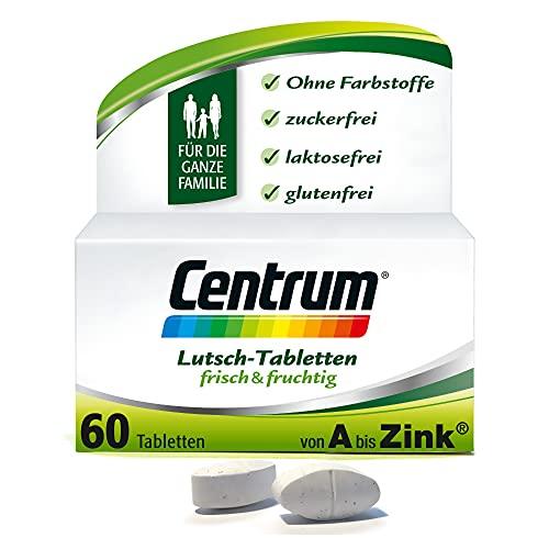 Centrum Frisch & Fruchtig – Hochwertiges Nahrungsergänzungsmittel mit Mikronährstoffen – Für die ganze Familie – Vitamine, Mineralstoffe, Spurenelemente – 1 x 60 Lutschtabletten