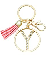Letter Keychain for Women Purse Charms for Handbags Crystal Alphabet Initial Letter Pendant with Tassel (Gold-Y)